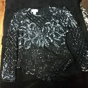 Vintage Laurence Kazar sequin top